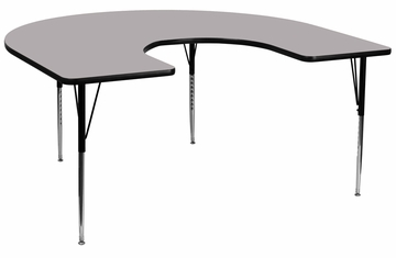 60''W x 66''L Horseshoe Grey Activity Table with Standard Height Adjustable Legs - XU-A6066-HRSE-GY-T-A-GG