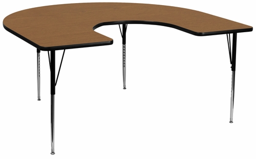 60''W x 66''L Horseshoe Oak Activity Table with Standard Height Adjustable Legs - XU-A6066-HRSE-OAK-T-A-GG