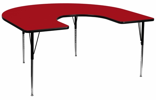 60''W x 66''L Horseshoe Red Activity Table with Standard Height Adjustable Legs - XU-A6066-HRSE-RED-T-A-GG