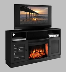 "64"" Contemporary TV Console with 25"" curved Electric Fireplace - FT64CFB"