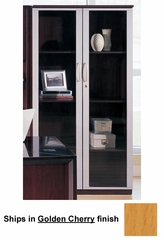 68 Inch Wall Cabinet with Glass Doors in Golden Cherry - Mayline Office Furniture - VCGGCH