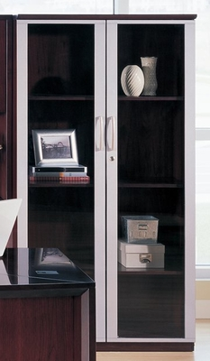 68 Inch Wall Cabinet with Glass Doors in Mahogany - Mayline Office Furniture - VCGMAH