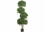 "69"" Sweet Bay Topiary with 4 Balls Silk Tree - Nearly Natural - 5244"