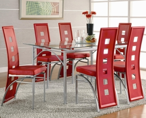 7-Piece Dining Room Furniture Set in Matte Silver / Red - Coaster - 101681-3-DSET
