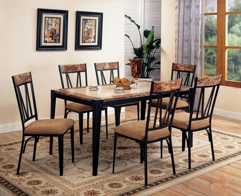 7-Piece Dining Set in Black - Coaster - 120411-2-DSET