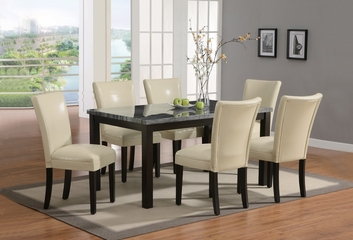 7-Piece Dining Set in Deep Cappuccino / Cream - Coaster - 102261-4-DSET