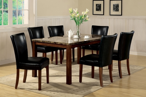 7-Piece Dining Set in Rich Cherry / Black - Coaster - 120310-DSET