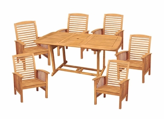 7-Piece Wood Extendable Table Patio Set in Natural Brown - OW7SBR-NC