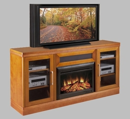 "70"" Transitional TV Console with 25"" Electric Fireplace - FT70TRFB"