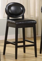 "7015 Martini 26"" Stationary Barstool in Jet Black Leather / Black - Armen Living - LC7015BABL26"