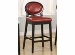 "7015 Martini 26"" Stationary Barstool in Red Leather / Black - Armen Living - LC7015BARE26"
