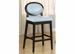 "7015 Martini 26"" Stationary Barstool in Sky Blue Leather / Black - Armen Living - LC7015BASB26"