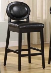 "7015 Martini 30"" Stationary Barstool in Jet Black Leather / Black - Armen Living - LC7015BABL30"