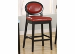 "7015 Martini 30"" Stationary Barstool in Red Leather / Black - Armen Living - LC7015BARE30"