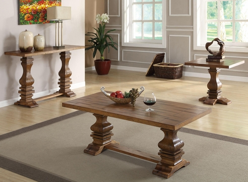 701940 3PC Occasional Table Set - Distressed Finish - 701947