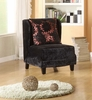7118 Hampton Club Chair in Black Velvet Fabric - Armen Living - LC7118BLPUFL