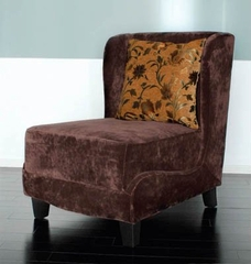 7118 Hampton Club Chair in Brown Velvet Fabric - Armen Living - LC7118BRGO