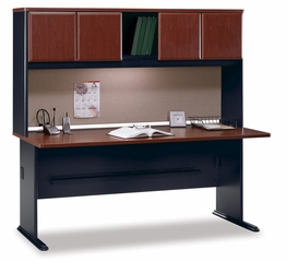 "72"" Desk and Hutch Set - Series A Hansen Cherry Collection - Bush Office Furniture - WC94472-73"