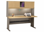 "72"" Desk and Hutch Set - Series A Light Oak Collection - Bush Office Furniture - WC64372-73"