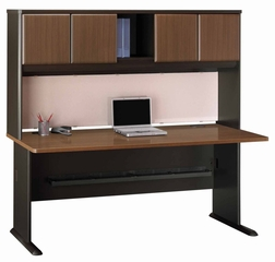 "72"" Desk and Hutch Set - Series A Walnut Collection - Bush Office Furniture - WC25572-73"
