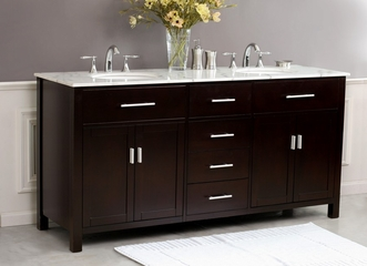"72"" Espresso Double Sink Bathroom Vanity - Virtu USA Bathroom Vanities - LD-1085"