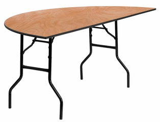 72'' Half-Round Wood Folding Banquet Table - YT-WHRFT72-HF-GG