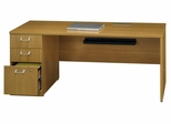 "72"" Left Credenza with Pedestal - Quantum Modern Cherry Collection - Bush Office Furniture - QT4736MCK"
