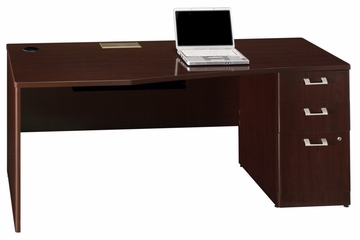 "72"" Right Hand Desk with Pedestal - Quantum Harvest Cherry Collection - Bush Office Furniture - QT0746CSK"