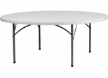 72'' Round Granite White Plastic Folding Table  - RB-72R-GG