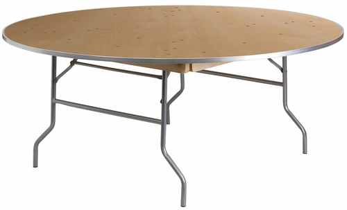 72'' Round HEAVY DUTY Birchwood Folding Banquet Table - XA-72-BIRCH-M-GG