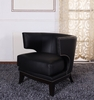 734 Eclipse Club Chair in Black Vinyl / Espresso - Armen Living - LC734CLBL