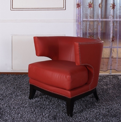 734 Eclipse Club Chair in Red Vinyl / Espresso - Armen Living - LC734CLRE