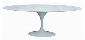 "79"" Oval Saarinen Dining Table in White - RT-335V-WHITE"