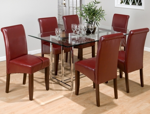 7PC Chrome Glass Top Dining Set with Red Chairs - 888-42