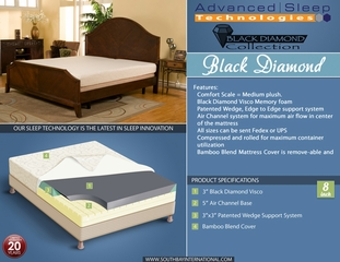 "8"" Black Diamond Queen Size Memory Foam Mattress"