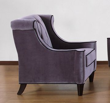 844 Barrister Chair in Gray Velvet/Black Piping - Armen Living - LC8441GRAY