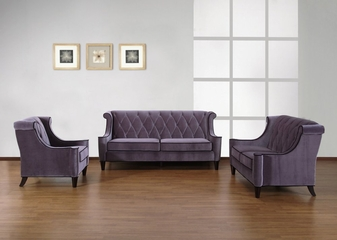 844 Barrister Sofa Set in Gray Velvet/Black Piping - Armen Living - 844-SSET-1