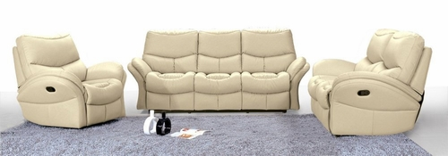 8552 Idaho Leather Sofa Set in Taupe Leathermatch - Armen Living - 8552-SSET