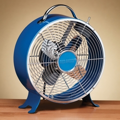 "9"" Colored Retro Metal Box Fan - Sapphire- Deco Breeze - DBF0598"