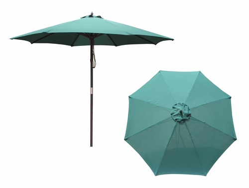 9' Market Umbrella with 8 Ribs and an Oil Based Stain Pole in Natural / Green - Merry Products - MPG-UMB8-SM01G