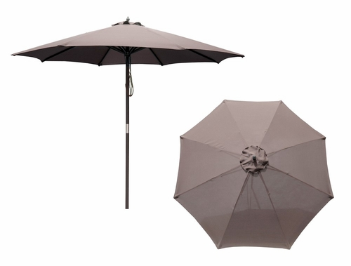 9' Market Umbrella with 8 Ribs and an Oil Based Stain Pole in Natural / Light Khaki - Merry Products - MPG-UMB8-SM01LK