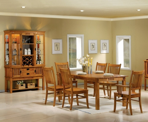 9-Piece Dining Room Furniture Set in Medium Brown - Coaster