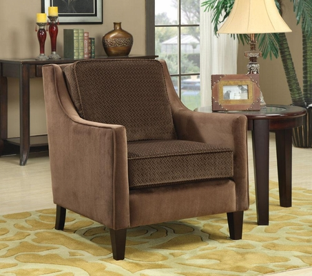 Accent Chair with Basket-Weave Microvelvet in Brown - 902043
