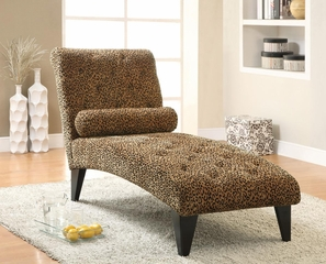 Accent Seating Upholstered Leopard Patterned Chaise - 902076