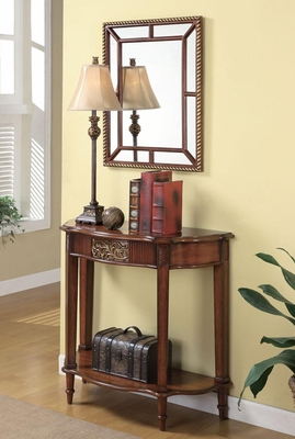 Accent Table, Framed Mirror & Lamp Set in Warm Brown - 900155