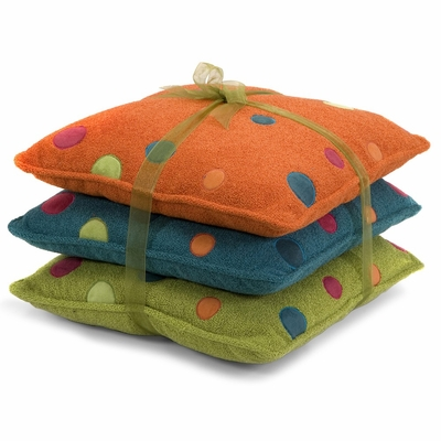 Adalyn Embroidered Dot Pillows 14 x 14 (Set of 3) - IMAX - 42043-3