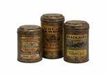Addie Vintage Label Metal Canisters (Set of 3) - IMAX - 73050-3