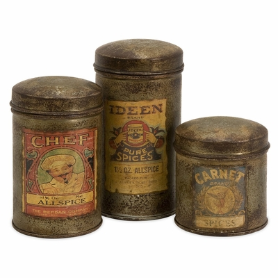 Addie Vintage Label Small Metal Canisters (Set of 3) - IMAX - 73054-3