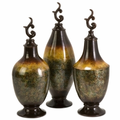 Adela Lidded Spun Bottles (Set of 3) - IMAX - 12934-3