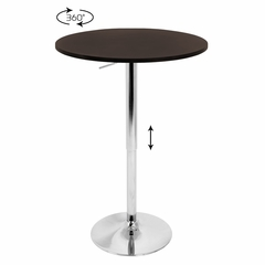 Adjustable Bar Table with Brown Top - LumiSource - BT-ADJ23TW-BN